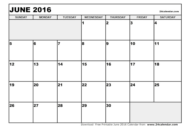 Calendar June 2016 Printable : Free june printable calendar blank templates