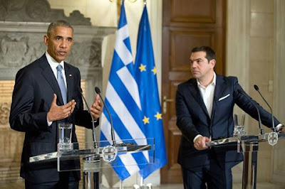 President Obama speaking in Greece on his final foreign trip