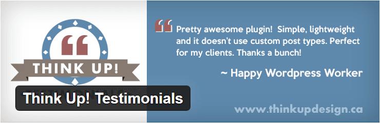Think up testimonial plugin