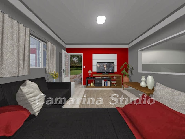 Sala De Tv Com Sofa Vermelho ~  Marina  Ribeirão Preto Projeto sala moderna com tons em vermelho