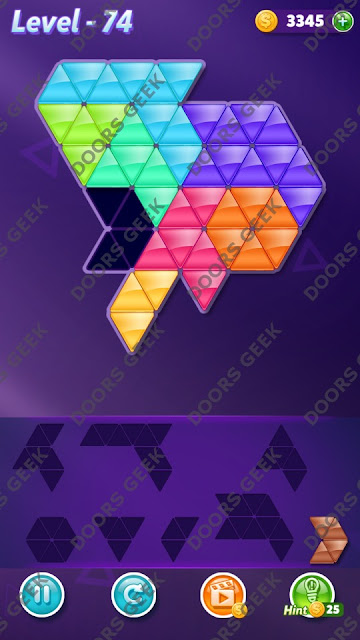 Block! Triangle Puzzle 8 Mania Level 74 Solution, Cheats, Walkthrough for Android, iPhone, iPad and iPod