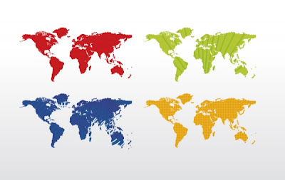mapa del mundo 4 colores