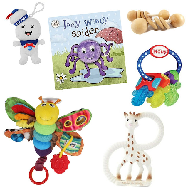 small toys and book perfect to take in hand luggage when flying with a baby