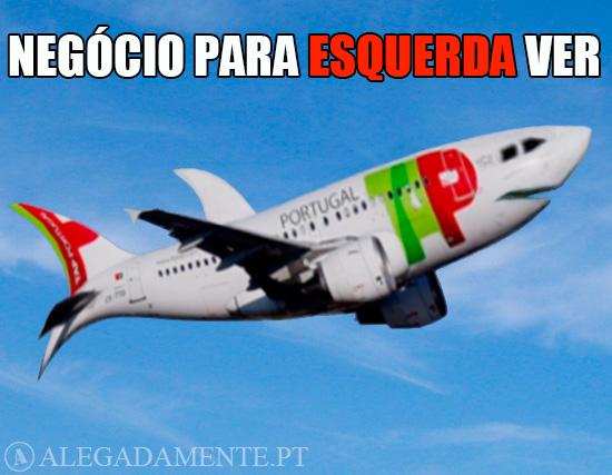 Alegadamente: Imagem de Avião da TAP transformado em Tubarão – Negócio para Esquerda ver