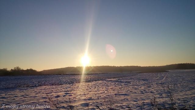 słońce zimą zima na mazurach