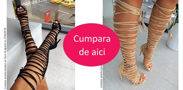 sandale tip romne pana la genunchi negre