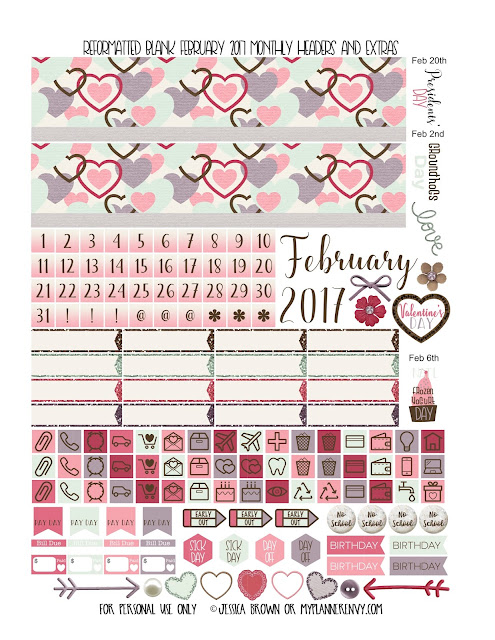 Reformatted February 2017 Blank Monthly Headers & Extras the multiple planners from myplannerenvy.com