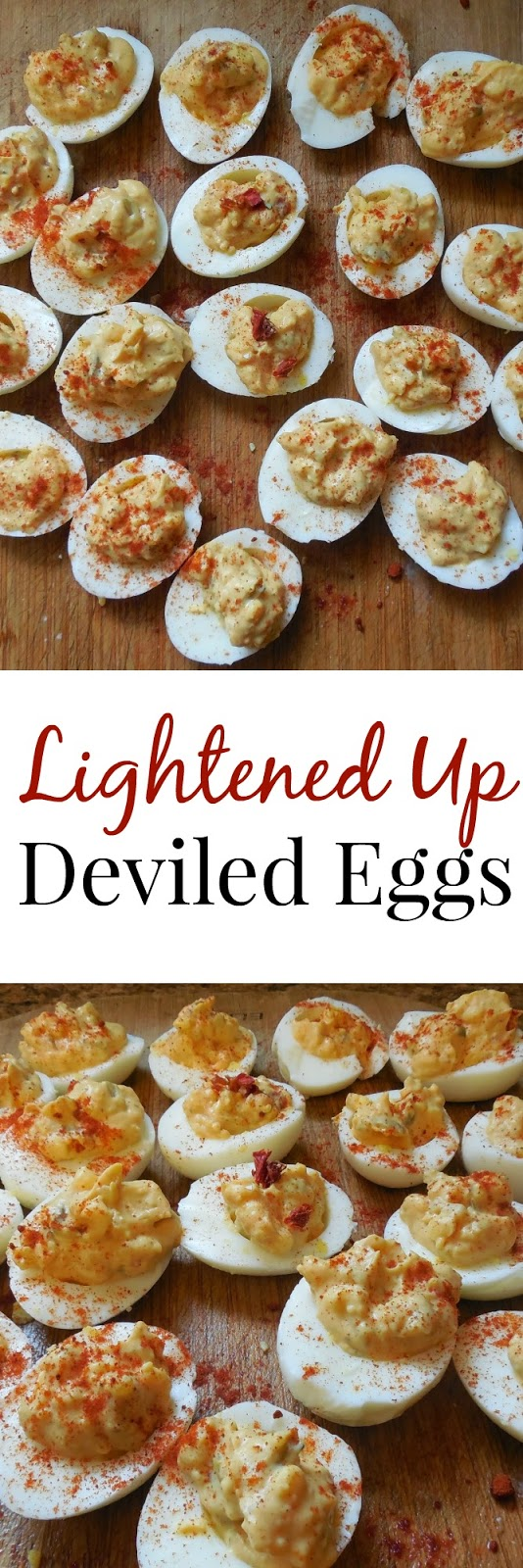 These lightened up deviled eggs are full of flavor with sun-dried tomatoes and are made healthier with less mayo! www.nutritionistreviews.com