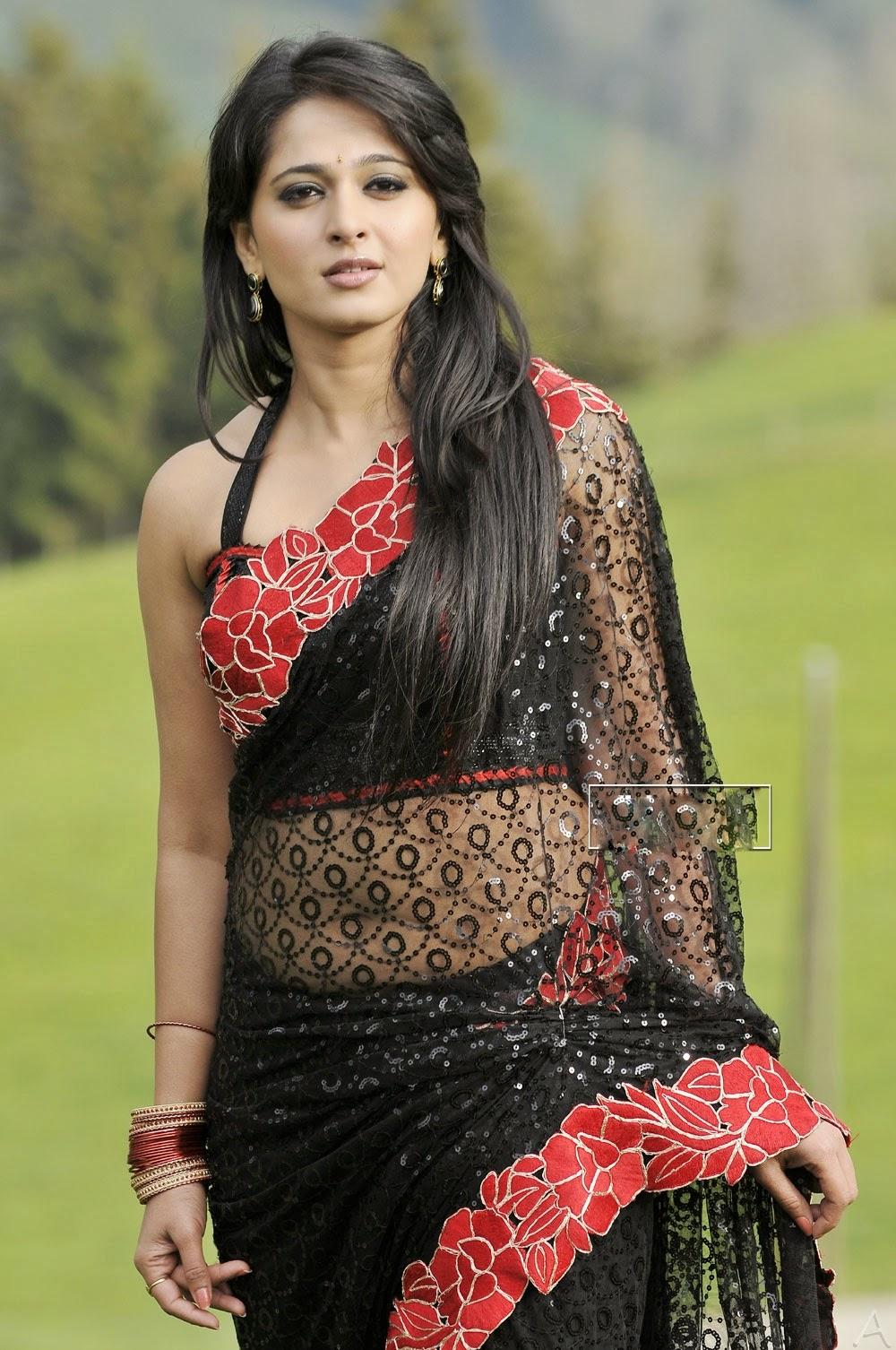 Spicy Saree: Anushka Spicy Navel Show HD Pics In Transparent Saree