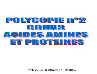 Polycopié ACIDE AMINES ET PROTEINES