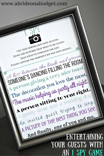 """Need a way to entertain your wedding guests? Give them a disposable camera and this """"I Spy"""" game. You can print it for FREE at www.abrideonabudget.com."""