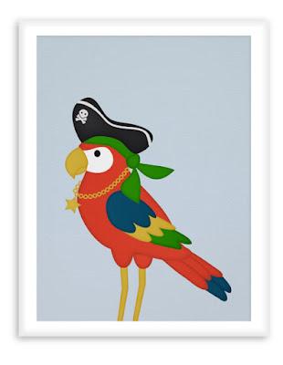 Pirate Parrot Poster - Nursery Wall Art