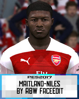 PES 2017 Faces Ainsley Maitland-Niles by ABW_FaceEdit