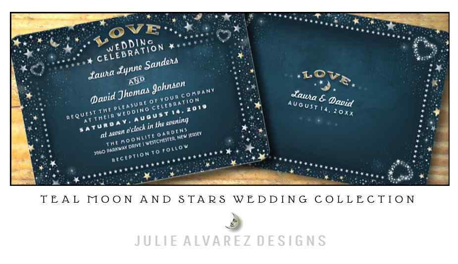 Teal Moon & Stars Wedding Invitation Collection by Julie Alvarez Designs