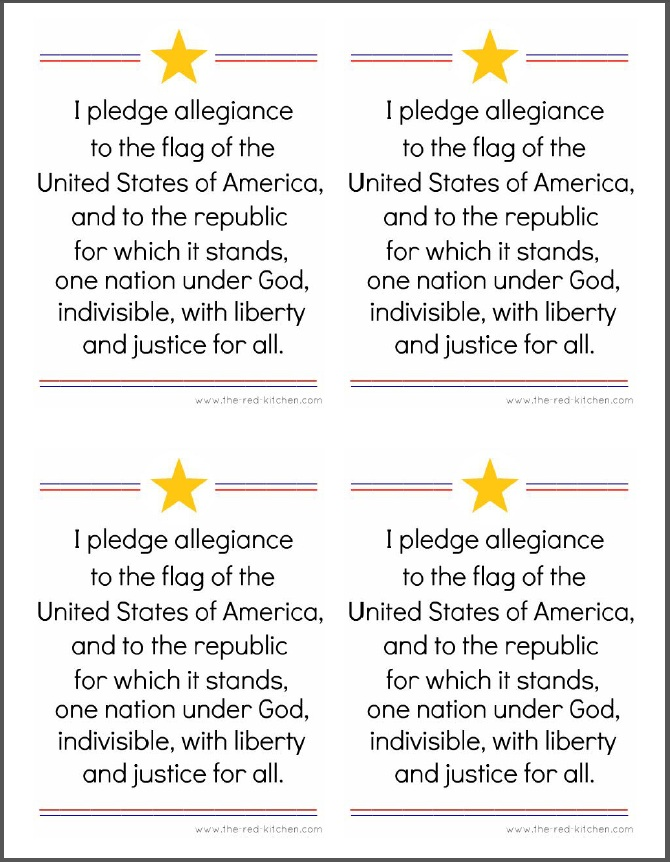 graphic relating to Texas Pledge Printable named the crimson kitchen area: The Pledge of Allegiance (Free of charge printables