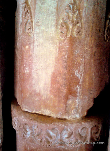One of the pillars at ancient Chaurasi Khamba Temple, Mahavan Old Gokul in Mathura