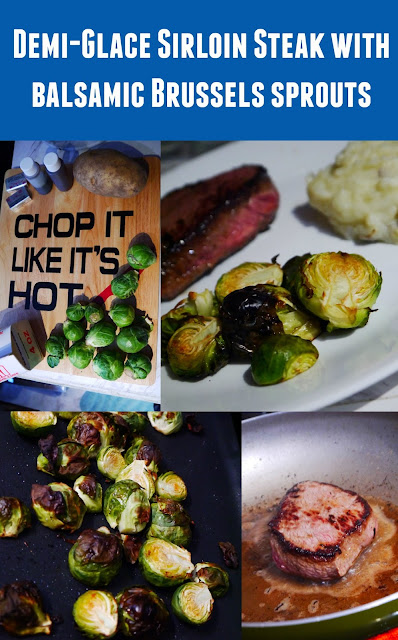 Collage step by step Sirloin Steak with balsamic Brussels sprout recipe
