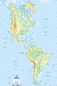 Mapa físico de América, con las cordilleras más importantes del continente