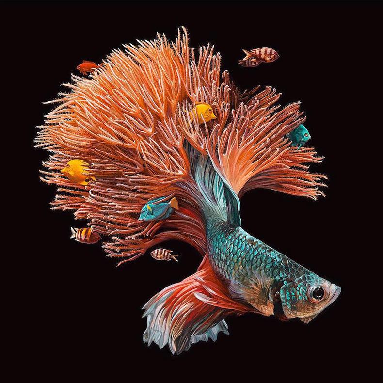 Representaciones hiperrealistas de peces fusionados con sus ambientes coralinos por Lisa Ericson