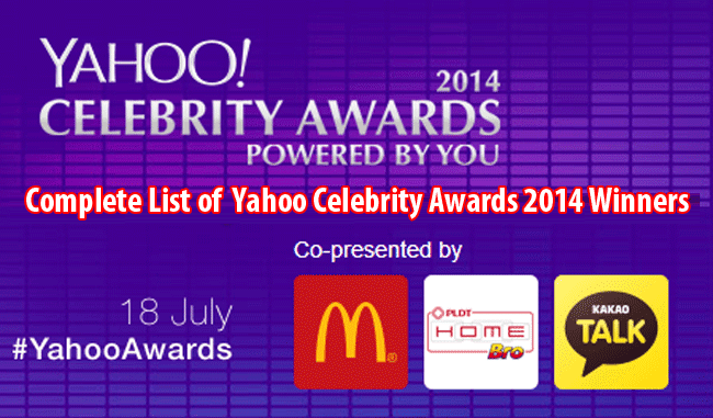 Complete List of  Yahoo Celebrity Awards 2014 Winners