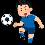 パスをするサッカー選手のイラスト(男性)