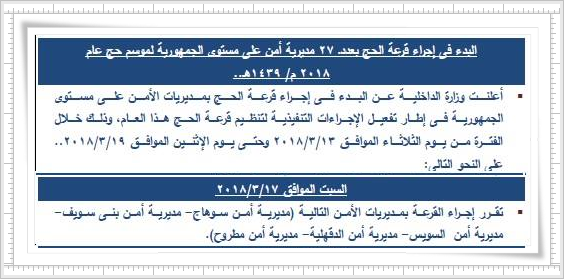 نتيجة قرعة الحج 2018 بمحافظة (الدقهلية،سوهاج،السويس،مطروح،بنى سويف) وزارة الداخلية