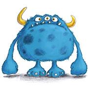 Skizzen, Monster, blau, Kinderbuchillustration