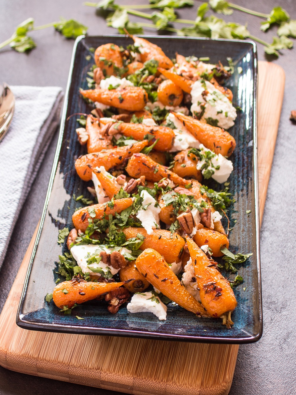 Roasted Chantenay Carrots With Ricotta Pecans And Coriander
