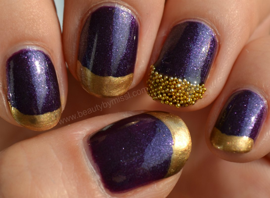 e.l.f. Party Purple, Models Own Gold Digger, nail art beads
