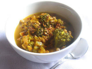Brown Lentil Soup with Broccoli