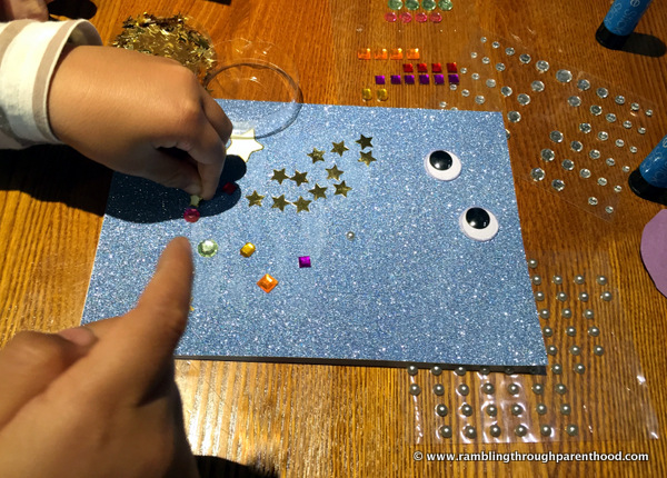 Creating a card -Half term May-Hem at Brewers Fayre