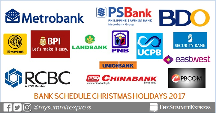 Bank Schedule for Christmas Holidays 2017, New Year