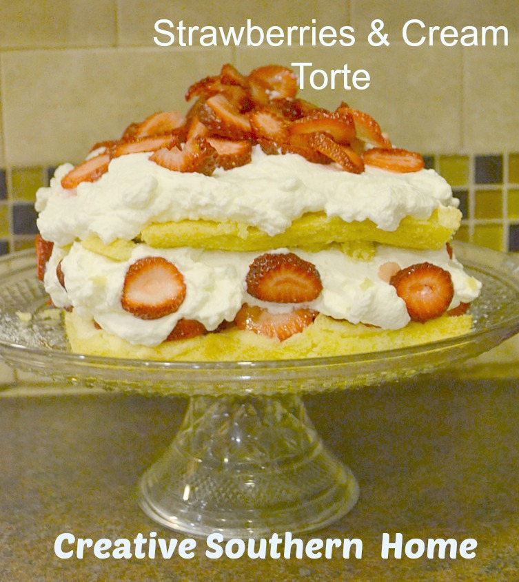 Strawberries Cream Torte Recipe: Strawberries & Cream Torte