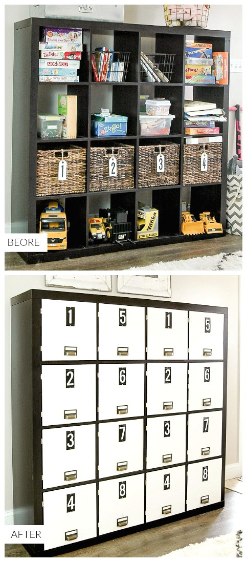 Hide toys by turning a bookcase into lockers