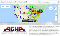 American Collegiate Hockey Association Map of Teams