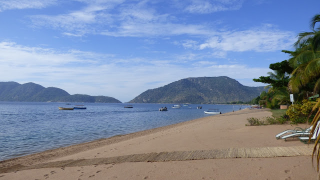 The view looking East over the golden beach shore of Lake Malawi - Cape McClear