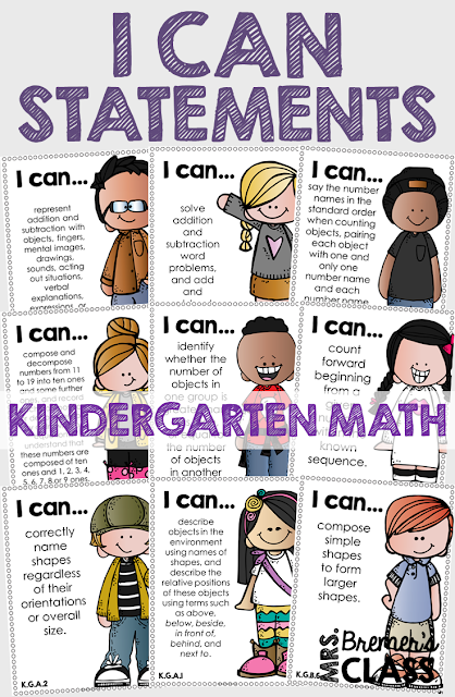These Kindergarten 'I Can' statement charts are perfect to display on an objective board or a focus board! The charts will provide your students with visual reminders about what skills to work on, and keep you, as the teacher, accountable and on track with the learning focus. This pack includes charts for all of the Kindergarten Common Core Math Standards! #commoncore #icanstatements #kindergarten #icancharts #bulletinboards #classcharts #backtoschool #kmath #kindergartenmath