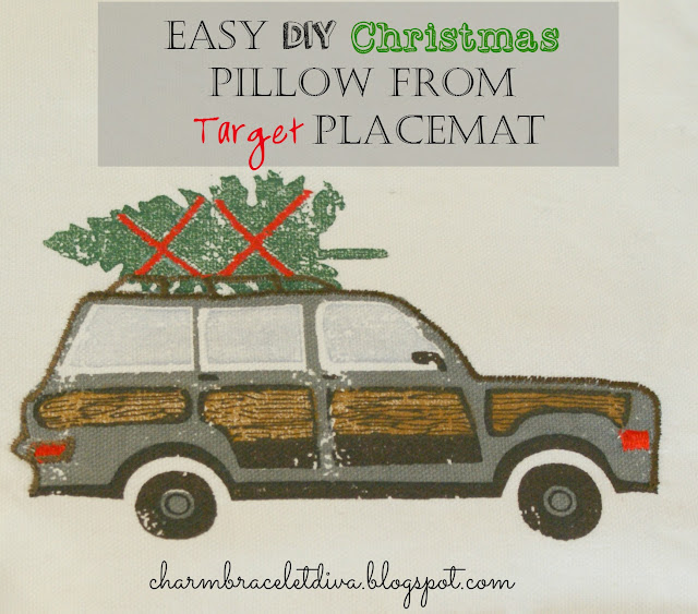 DIY Christmas Pillow woody station wagon Christmas tree