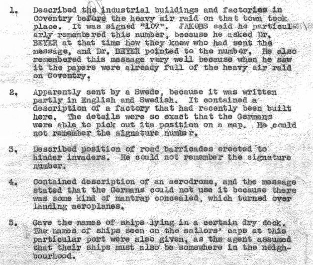 Excerpt from a Camp 020 summary report of Josef's recollection of five messages that he saw in Hamburg,  supposedly originating from agents within England. (National Archives - KV 2/25, 94b)
