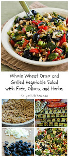 Whole Wheat Orzo and Grilled Vegetable Salad with Feta, Olives, and Herbs (Meatless) [from KalynsKitchen.com]