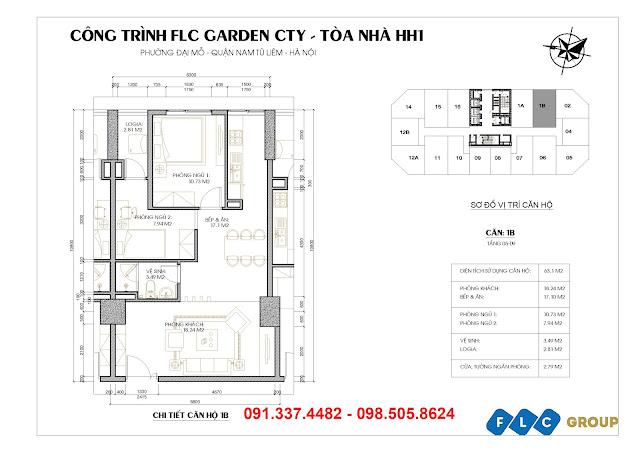 mặt bằng thiết kế căn hộ tòa HH1 Flc Garden City Đại Mỗ