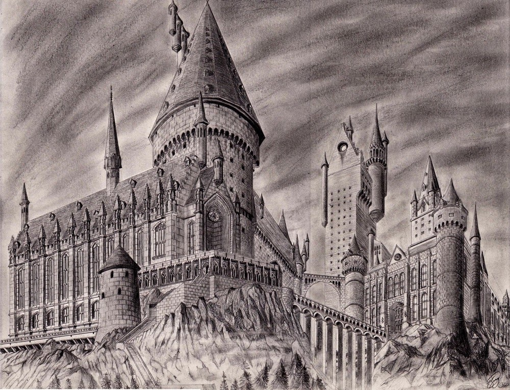 07-Hogwarts-Josh-Sung-Strong-Pencil-Fantasy-Drawings-www-designstack-co