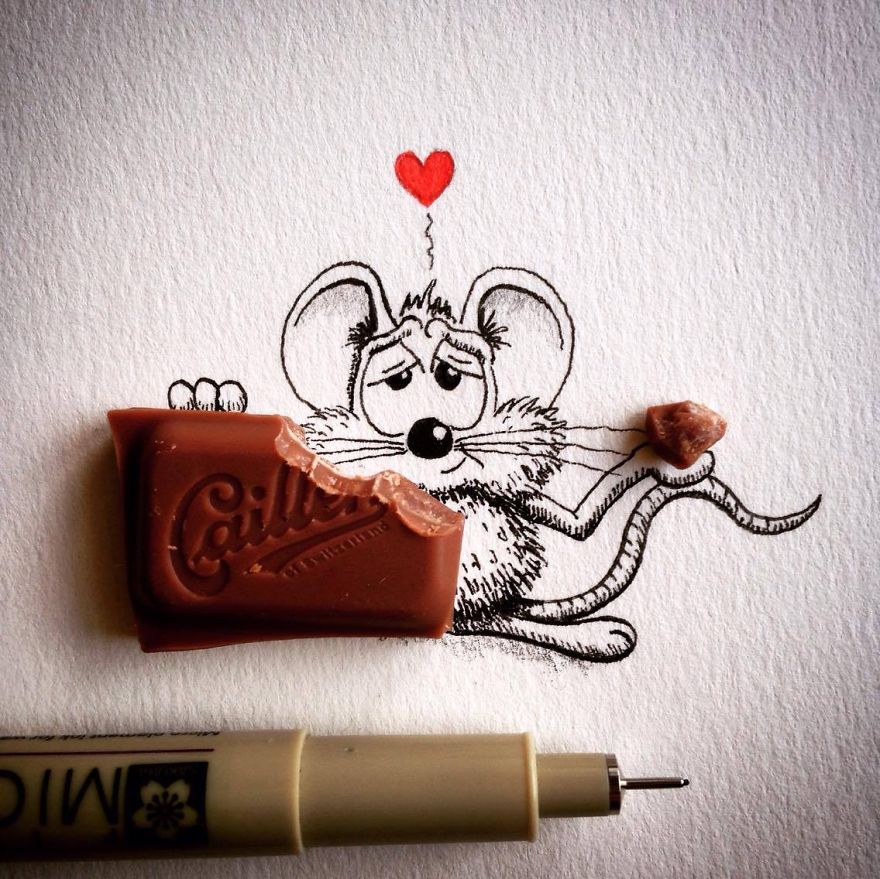 15-Chocolate-Loïc-Apreda-apredart-Drawings-of-Rikiki-the-Mouse-and-his-Famous-Friends-www-designstack-co