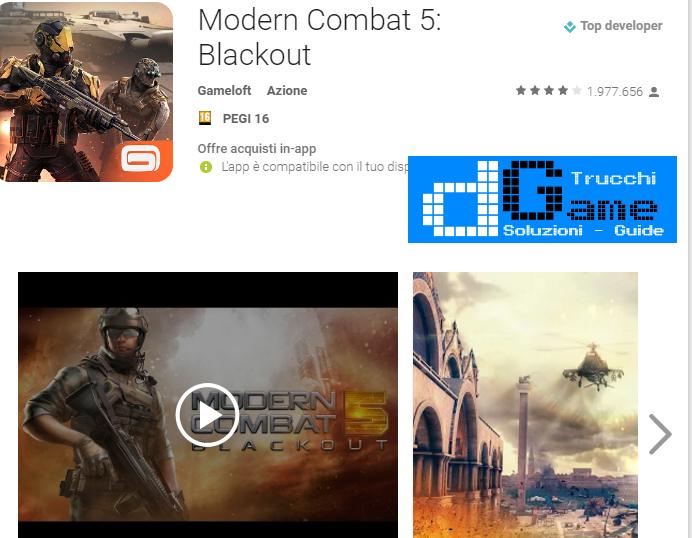 Trucchi Modern Combat 5: eSports FPS  Mod Apk Android v2.3.0