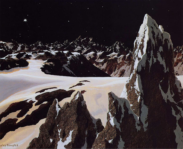 A Chesley Bonestell illustration of alien mountains