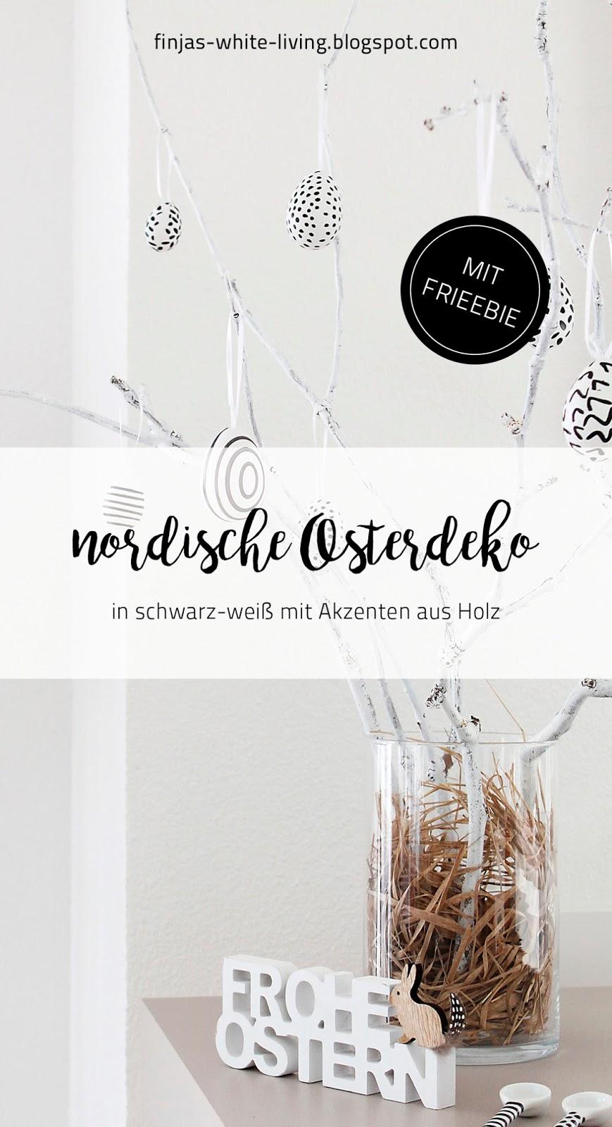 finjas white living skandinavische Osterdekoration in schwarz-weiß und Holzakzenten mit Freebie