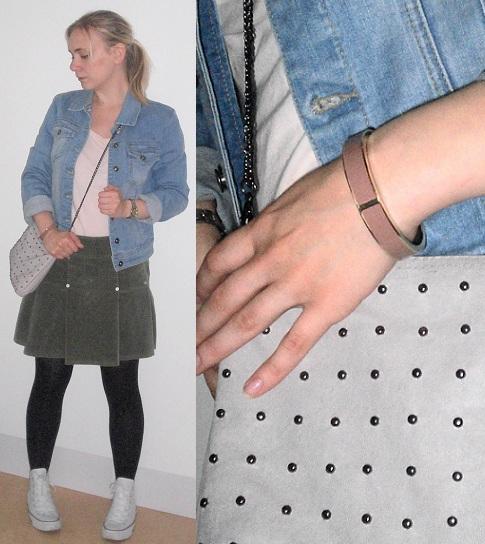 f221c83aa5e6 Mörkgrön kjol - Vero Moda * Strumpbyxor - Lindex * Armband (nytt!) - Åhléns  * Väska - H&M * Sneakers - Converse