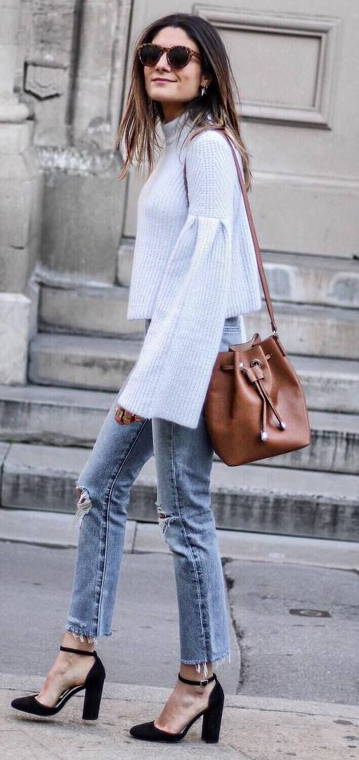 cute casual style outfit: top + bag + jeans