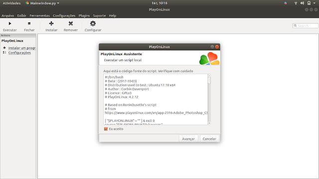 Rodando o Adobe Script no PlayOnLinux