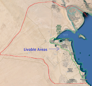 Kuwait borders and livable areas